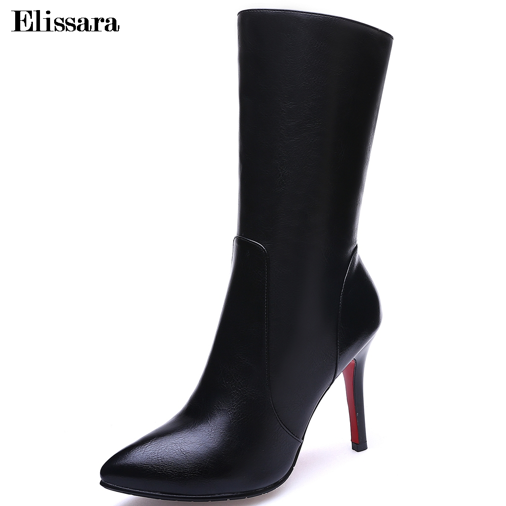 Elissara Women Genuine Leather Boots Shoes Women High Heel Mid Calf Boots Fashion Zip Pointed Toe Boots Plus Size 34-42 spring black coffee genuine leather boots women sexy shoes western round toe zipper mid calf soft heel 3cm solid size 36 39 38
