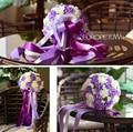 2017 dama de Honor Nupcial de La Boda Bouquet Barato New Romantic Purple & Ivory Hecha A Mano Artificial Rose Flores de La Boda Ramos de Novia