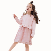 Autumn Winter Girls Dress Casual Long Sleeves Lace Mesh Kids Dresses For Girl Autumn Wool Clothing