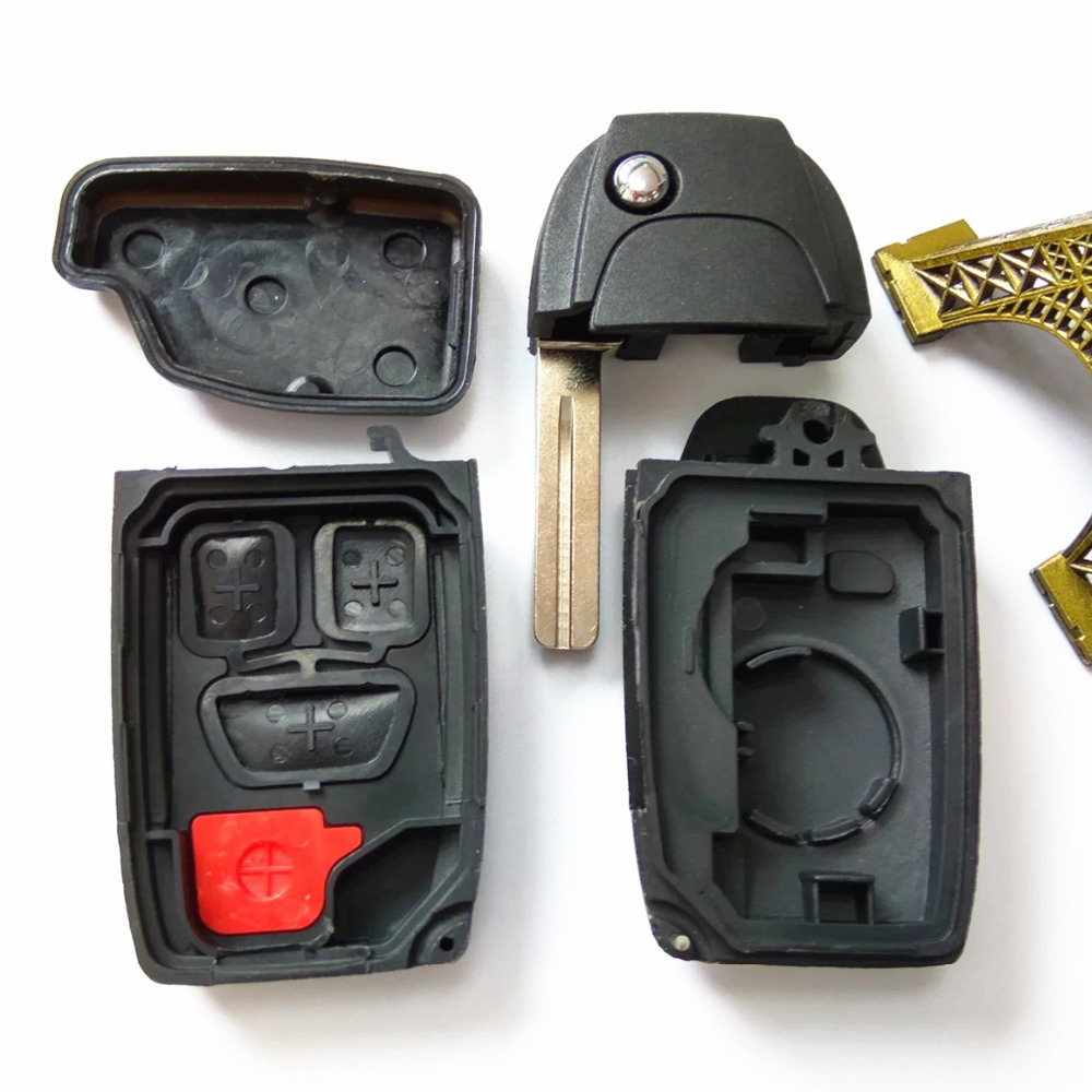 New Folding Key Fob Case 3 +1Button Flip Remote For Volvo