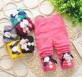 Lycra primavera meninas calças calças para meninas crianças girassol leggings calças 0 - 2 anos