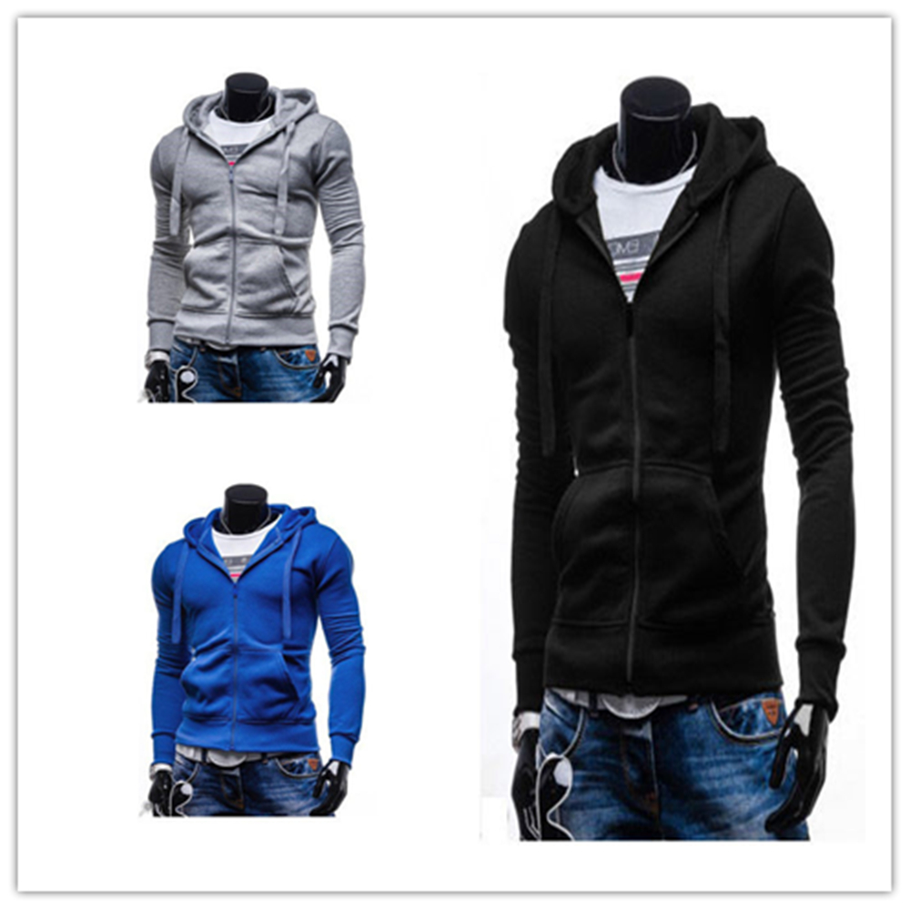 Fashion New Top Men\'s Slim Zipper Pullover Hoodie ...