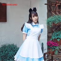 VEVEFHUANG Alice In Wonderland Party Cosplay Costume Anime Sissy Maid Uniform Sweet Lolita Dress Halloween Costumes