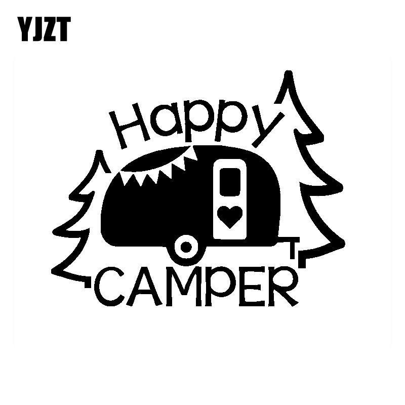 female HAPPY CAMPER vinyl decal sticker camping camp