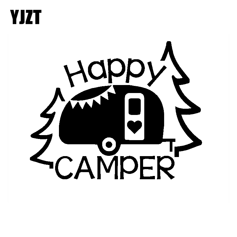 US $1.1 40% OFF|YJZT 16CM*12.9CM Personalized Lettering Art Happy Camper  Vinyl Decal Car Sticker Black/Silver C11 1329-in Car Stickers from ...