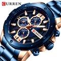 Часы CURREN Мужские  деловые  брендовые  Роскошные  с синим стальным ремешком  спортивные  водонепроницаемые  кварцевые  наручные часы