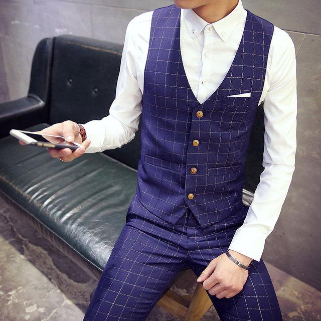 Chalecos de los hombres de moda Masculina otoño 2016 algodón a cuadros juego delgado chaleco ocasional sin mangas simple cómodo chaleco formal de negocios