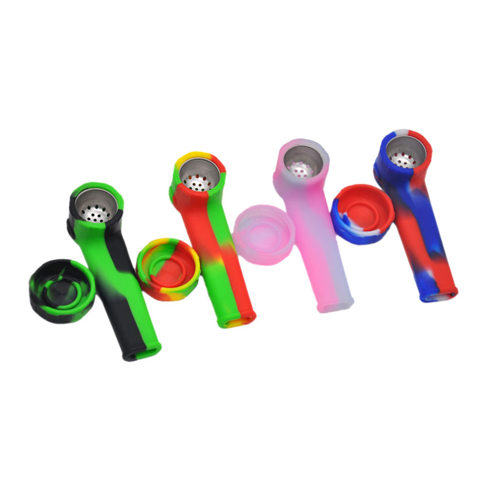 5 pcs New Silicone Tobacco Pipe with 100 grade silicone smoking Pipe favourable Color Random