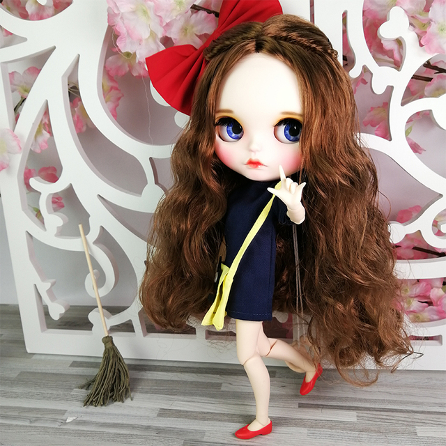 Blyth Doll 1/6 Joint Body hand painted matte face white skin Brown long curly hair suit 30cm DIY BJD SD toys gift AB hand set