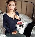 С бархатными утолщенной дна рубашки 2014 новый зимний Корейских крупных женщин размер тонкий тонкий V-образным вырезом с длинными рукавами Футболки девушка