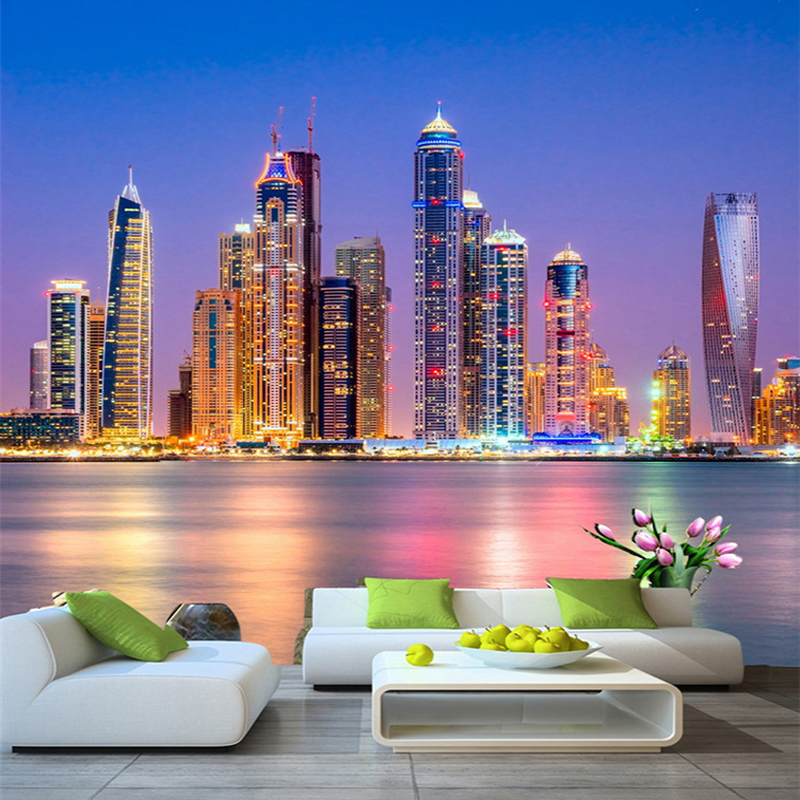 Custom 3D Wall Mural Wallpaper Beautiful Dubai City Night Landscape Photo Wall Paper Living Room Restaurant Cafe Decor 3D Fresco