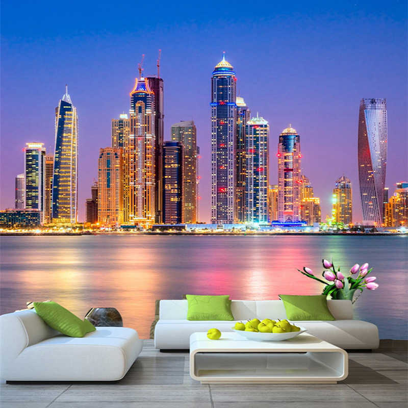 Custom 3d Wall Mural Wallpaper Beautiful Dubai City Night Landscape Photo Wall Paper Living Room Restaurant Cafe Decor 3d Fresco