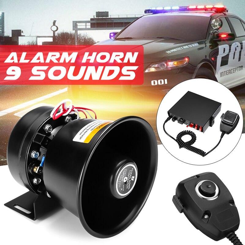 150dB 9 tons 400 W alarme sirène sonore klaxon de Police de voiture 12 V + Mic PA haut-parleur avertissement/enregistrement Volume de cloche électronique réglable