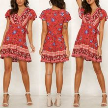 Women Ladies Summer Holiday Short Sleeve V Neck Wrap Boho Floral Mini Skater Dress Sundress Vintage Dress стоимость