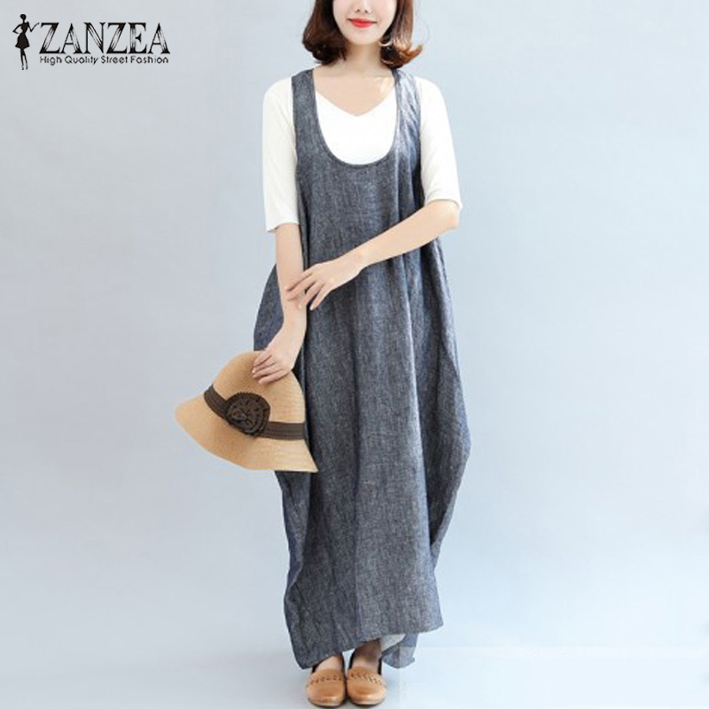 ZANZEA 2018 Plus Size Summer Retro Women O Neck Sleeveless Irregular Hem Baggy Kaftan Vestido Loose Maxi Long Dress Robe Female  1