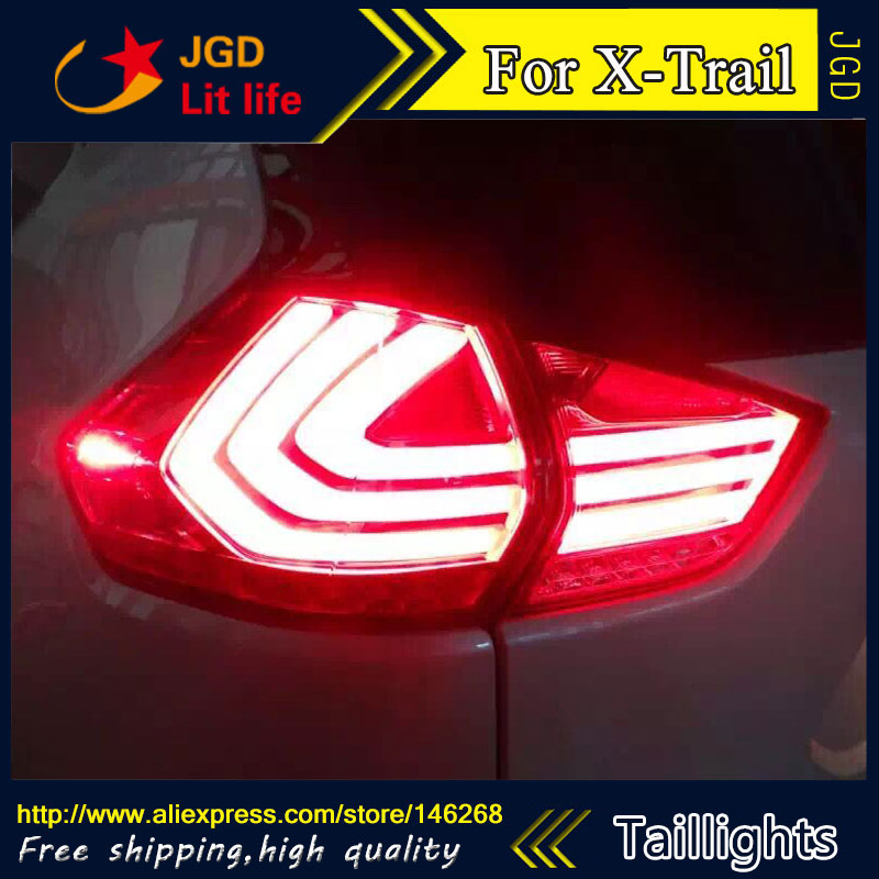 Car Styling tail lights for Nissan X-Trail 2014 2015 2016 LED Tail Lamp rear trunk lamp cover drl+signal+brake+reverse jgd brand new styling for nissan s15 tail lights 1999 2014 led tail light rear lamp led drl singal car lights