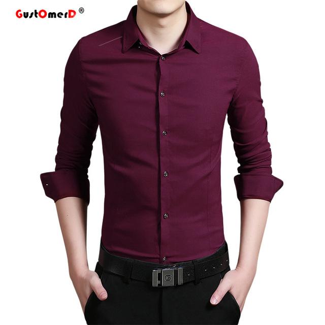 2016 Elasticidade Algodão Camisa Dos Homens de Alta Qualidade Camisas de Vestido Dos Homens Mens Slim Fit Camisa de Manga Longa de Cor Sólida Camisa Sociais homens