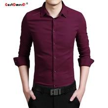 2016 Эластичность Хлопок Мужчины Рубашки Высокого Качества Мужские Рубашки Slim Fit Мужская Футболка С Длинным Рукавом Сплошной Цвет Социальный Рубашка мужчины