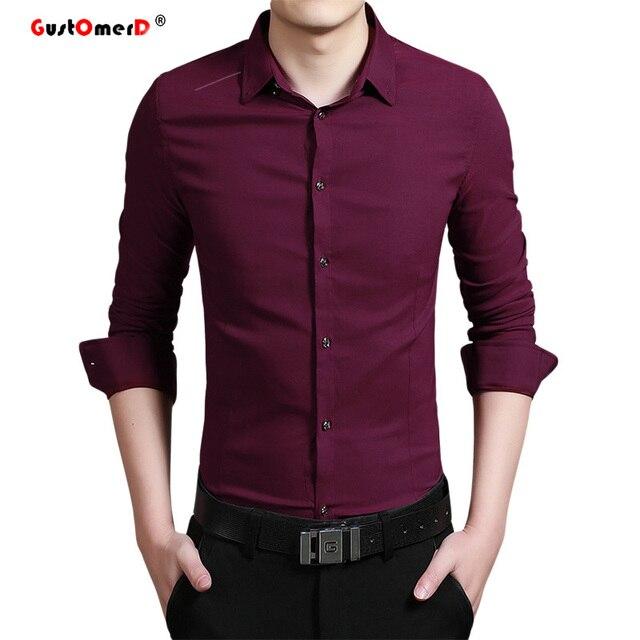 2016 Elasticity Cotton Men Shirt High Quality Mens Dress Shirts Slim Fit Mens Long Sleeve Shirt Solid Color Social Shirt Men