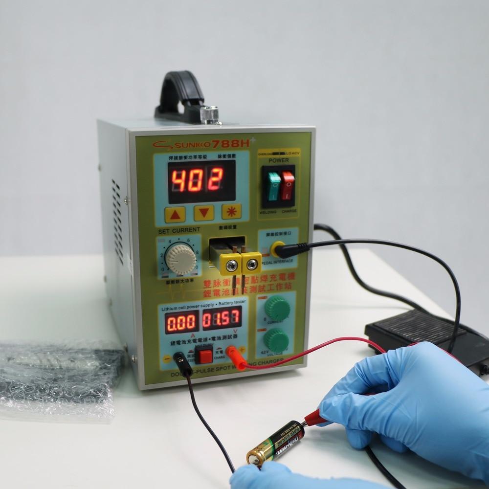 220V Sunkko LED lighting Pulse Battery Spot Welder 788H Welding Machine for 18650 Battery Charger 800 A 0.1 - 0.2 mm 36 V  цены