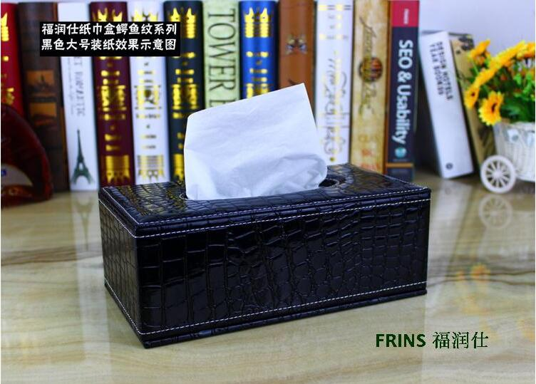 luxury rectangle wooden croco leather home car pumping tissue napkin box case toilet paper dispenser cover holder storagePZJH002