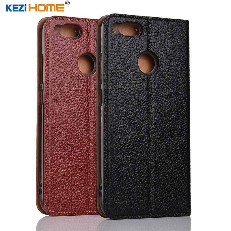for Xiaomi Mi 5X case KEZiHOME Litchi Genuine Leather Flip Stand Leather Cover capa For Xiaomi Mi A1 MiA1 5.5