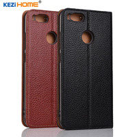 Xiaomi Mi 5X Case KEZiHOME Litchi Genuine Leather Flip Stand Leather Cover Capa For Xiaomi Mi5X