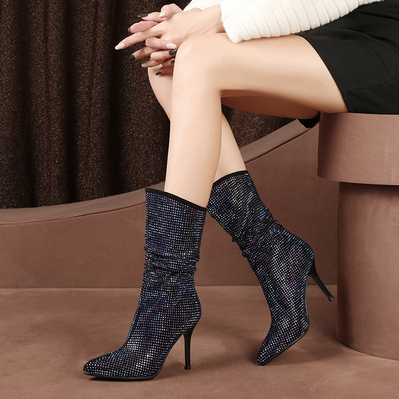 2018 Luxury Designer Genuine Leather Women Boots High Heels Shoes Woman Lamb Suede Mid Calf Booties Bling Plus Size Botas Mujer