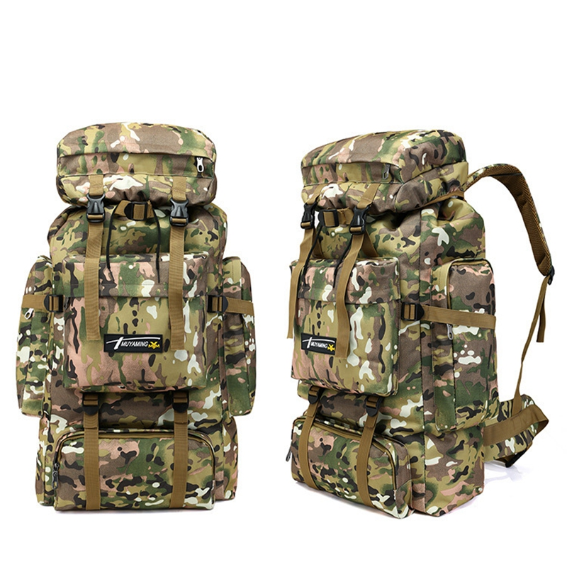 hiking camping backpack 70L large capacity military rucksack mountaineering bag camouflage tactical climbing backpack tracking 80l outdoor military tactical camouflage bag large capacity men women camping hiking mountaineering waterproof travel backpack