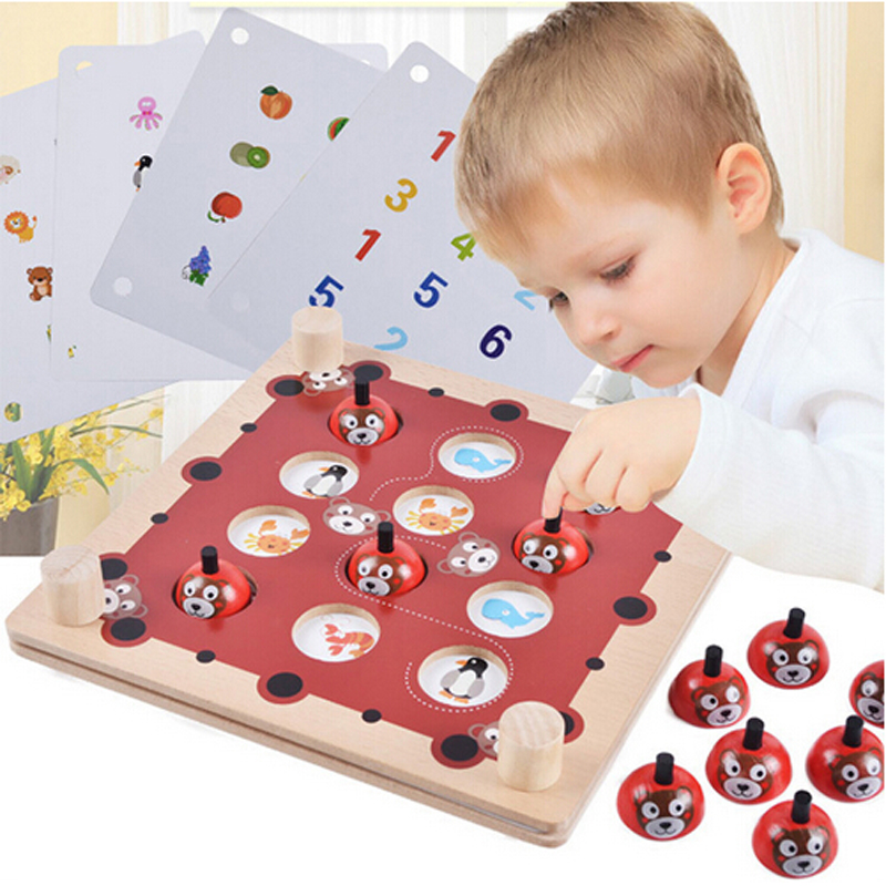 Bear Memory Chess Wooden Matching Game Interactive Children s Puzzle Toys