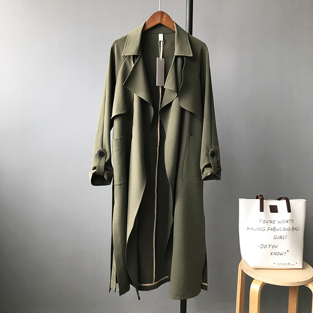 2018 качественные женские длинные bat рукавами Тренчи для женщин Пальто для будущих мам Армейский зеленый по колено модные красные с длинным рукавом негабаритных ремень Тренчи для женщин ES