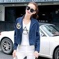Mulheres jaqueta jeans outono inverno 2016 hot sale mulher apliques azul calças de brim do furo marca sólida plus size clothing casacos casuais
