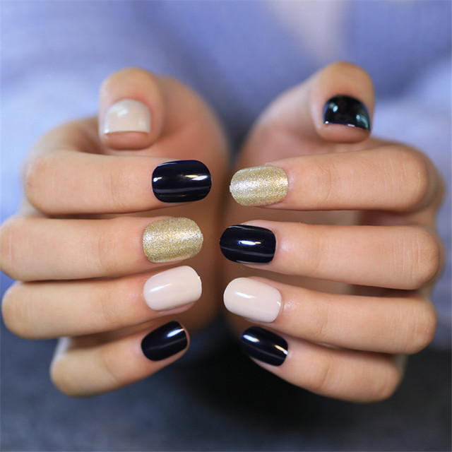 Fashion Design Fake Nails Short Square Faux Ongles Nail Art Tips ...