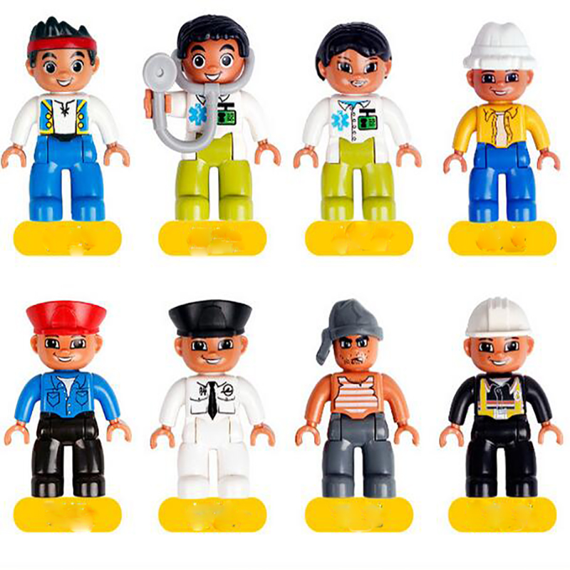 8pcs Each Set Family Pirate Doctor Career Princess Castle Building Blocks Figures Model toys Compatible Toy Good Gift For Childr lepin 22001 pirate ship imperial warships model building block briks toys gift 1717pcs compatible legoed 10210