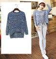 Blue Summer Women Pullover Knit Shirt Sexy Hollow Out Shirt Batwing Long Sleeve Crop Top Front Short Crochet Shirt S28