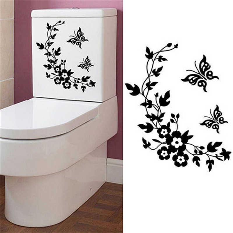 Łazienka kreatywna lodówka czarna naklejka motyl naklejki ścienne dekoracja wnętrz ściana kuchenna WC naklejki motyle domu