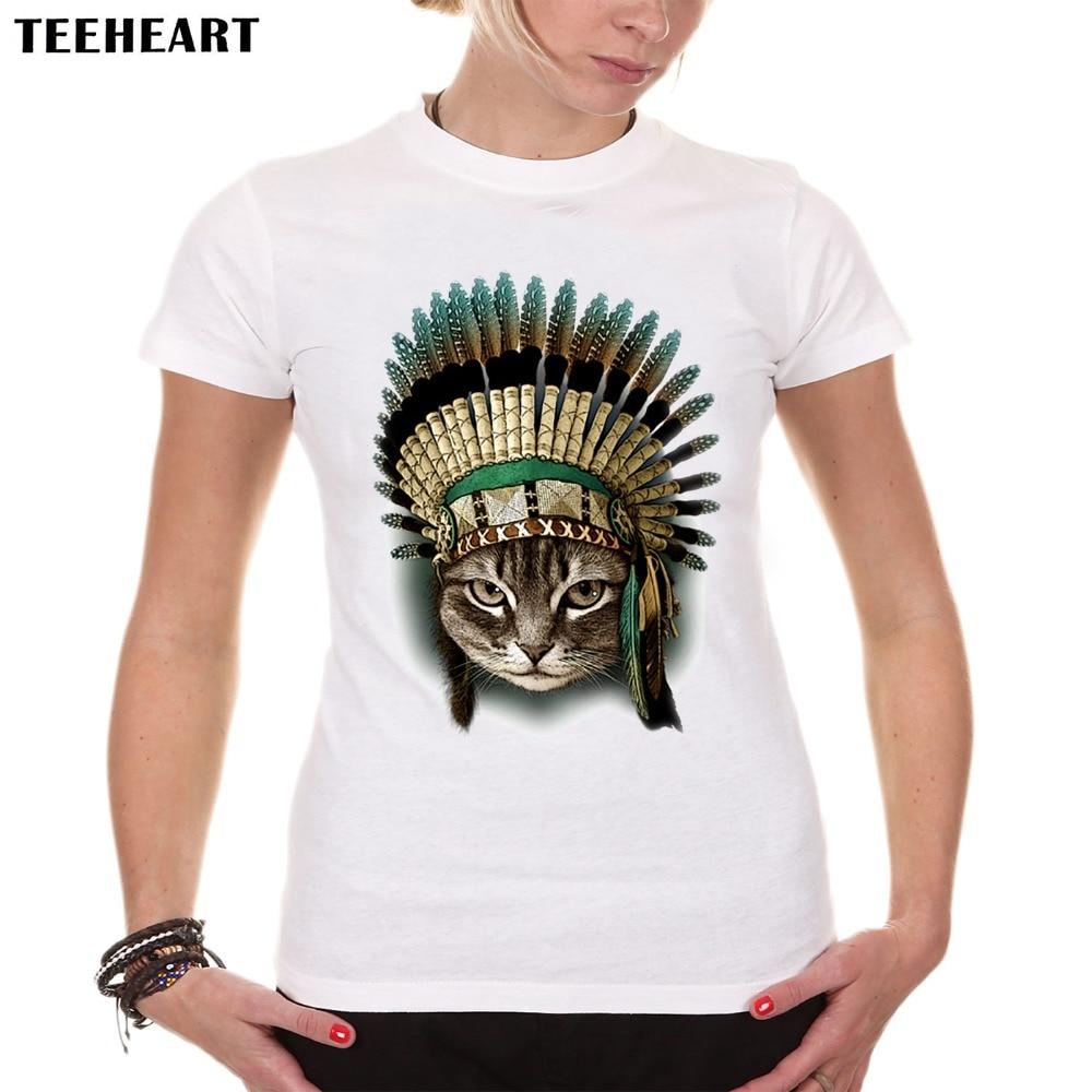 2017 mulheres verão novidade o chefe cat design feminino camiseta os índios  do vintage cat imprimir vendas hot tops camisetas px775 6fe02469c8