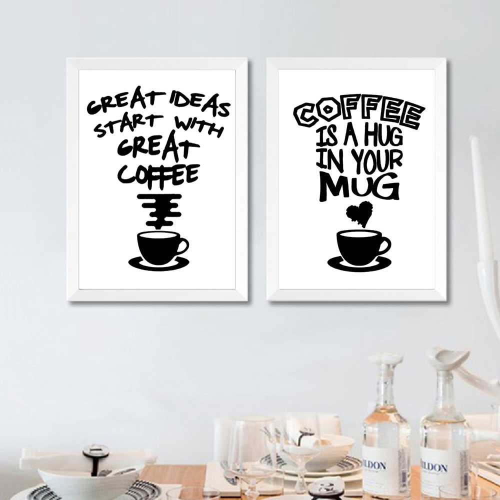 Image 3 - Fasion Poster Black And White Posters And Prints Quotes Wall Canvas Coffee Painting Quotes Pictures Quote Poster Art Unframed-in Painting & Calligraphy from Home & Garden