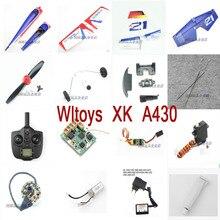 Wltoys XK A430 запасные лезвия для радиоуправляемого самолета, ESC Корпус Корпуса, клей, серводвигатель, приемник, пульт дистанционного управления