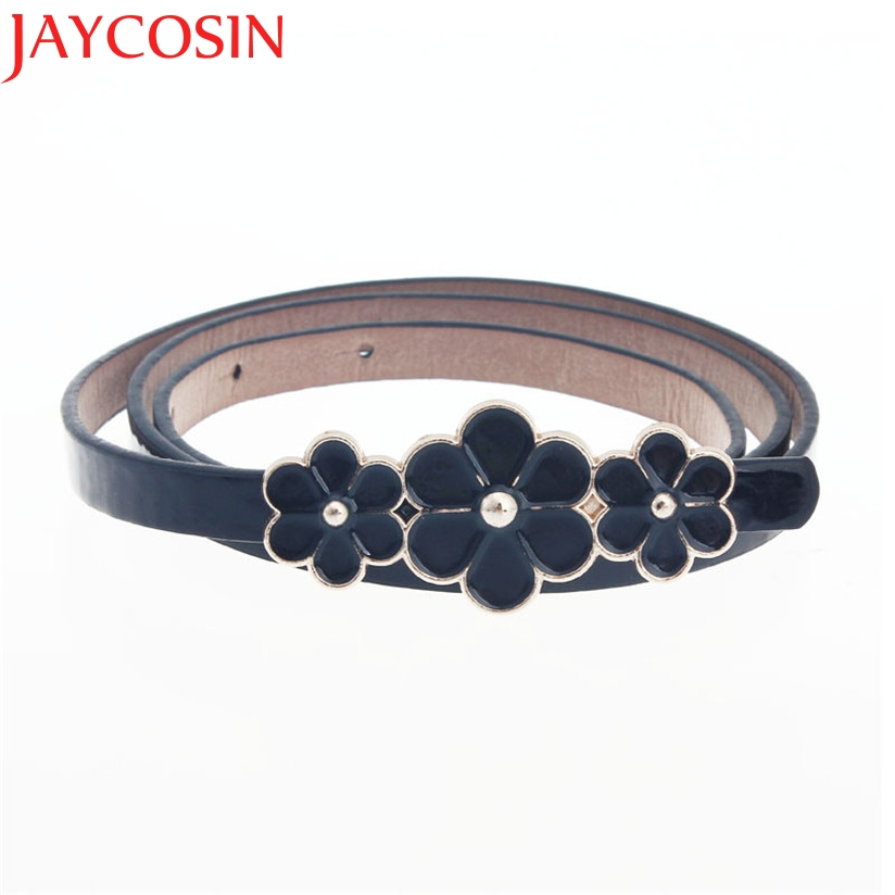 New Fashion Metal Flowers PU Leather Belt Women Waist Band Fashion Nice Gift Yellow Blue Pink Red Black July10 Drop Ship