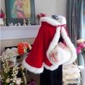 Red Winter Valentine Bridal Cape Faux Fur Hooded Wedding Cloak Floor Length Wedding Cape Hood Wrap Coat Short Wraps