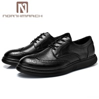 NORTHMARCH Fashion Mens Dress Shoes Office Lace Up Leather Shoes Men's Casual Bullock Carving Oxfords Genuine Leather Men Shoes