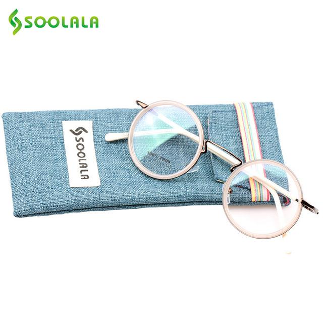 Soolala venta caliente titanium gafas de aleación marco antirreflejo senador marco redondo retro gafas de lectura clásica de alta calidad