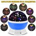 2016 New Romantic Nueva Rotating Luna de La Estrella Cielo de Rotación Lámpara de Noche de Luz Del Proyector de Proyección con Los Niños de alta calidad Lámpara de La Cama