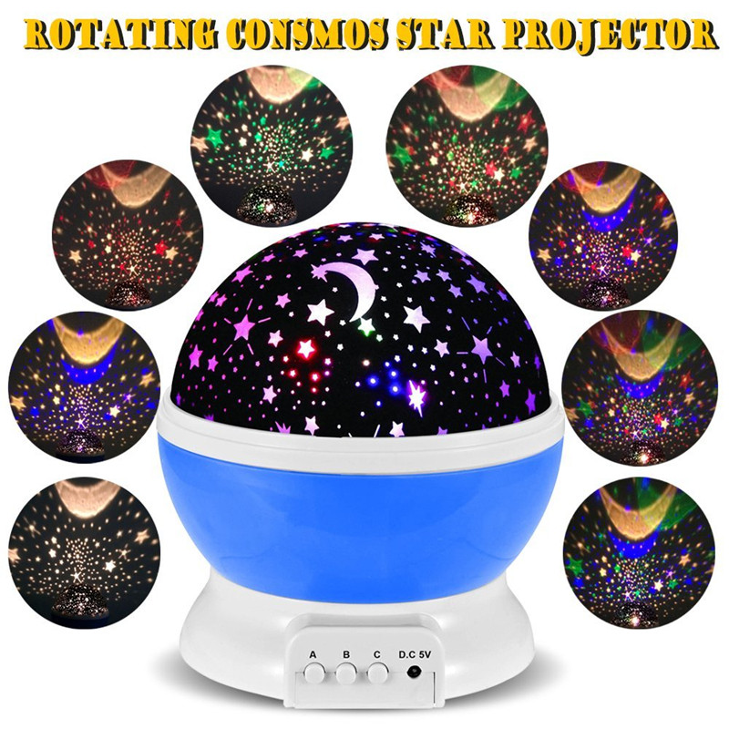 Best seller Romantic New Rotating Star Moon Sky Rotation Night Projector <font><b>Light</b></font> Lamp Projection with high quality Kids Bed Lamp