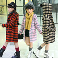 Girls Autumn Winter Coats and Jackets Houndstooth Plaid Wool Coats Kids Clothes Overcoat 3-15 Years Children's Clothing Jackets