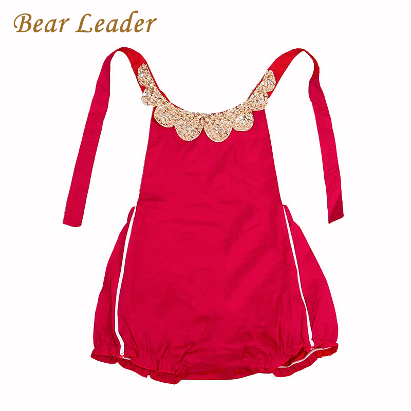Bear Leader Baby Rompers 2016 New Summer Style Cotton Pearl Collar Red Baby Girls Clothing Set 60- 95cm Party Kids Jumpsuit