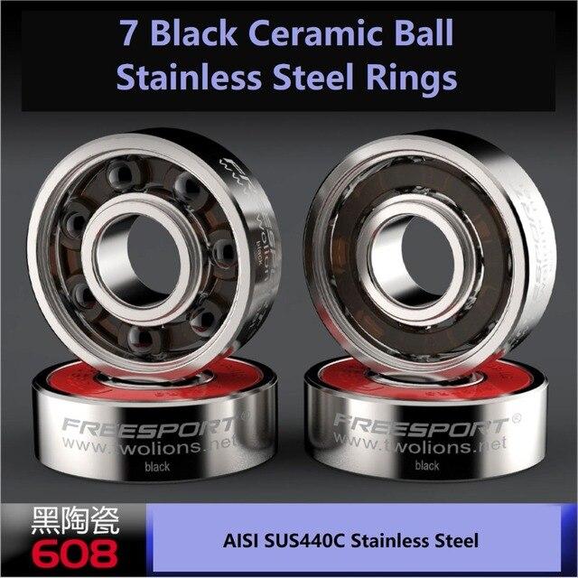 Freesport 608 abec9 híbrido preto cerâmica rolamentos de aço inoxidável para patins em linha skate scooter onda rodízio placa