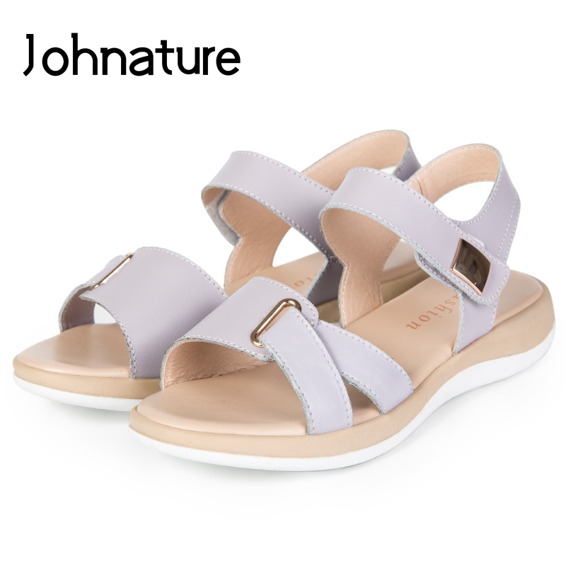 Johnature 2020 New Summer Casual Bling Hollow Breathable Genuine Leather Women Platform Sandals Wedges Casual Shoes Med Heels