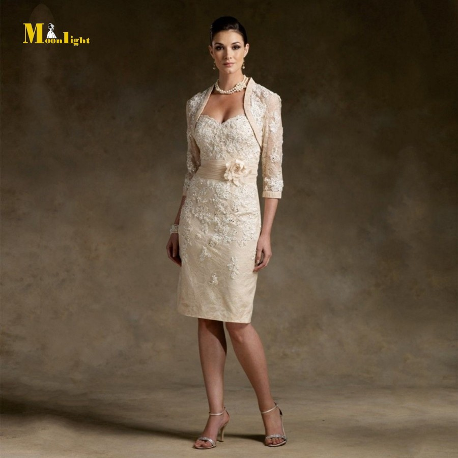 SD08 New Stock Knee Length Appliqued Champagne Lace Mother